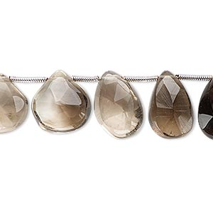 bead, smoky quartz (heated / irradiated), light to dark, 10x9mm-16x15mm hand-cut top-drilled faceted puffed teardrop, c grade, mohs hardness 7. sold per pkg of 5 beads.