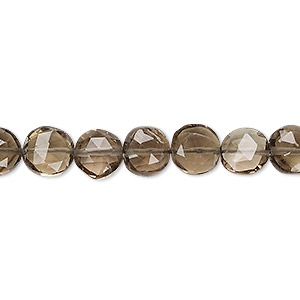 bead, smoky quartz (heated / irradiated), light to medium, 7-9mm hand-cut faceted puffed flat round, b grade, mohs hardness 7. sold per 13-inch strand.