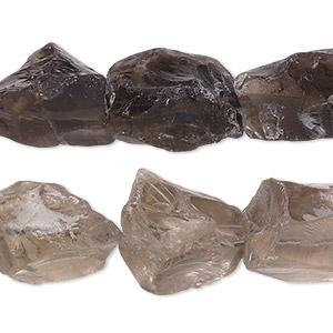 bead, smoky quartz (heated / irradiated), medium rough nugget, mohs hardness 7. sold per 16-inch strand.