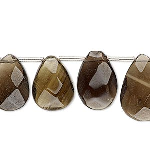bead, smoky quartz (heated / irradiated), medium to dark, 16x11mm-20x14mm hand-cut top-drilled faceted puffed teardrop, c+ grade, mohs hardness 7. sold per pkg of 8 beads.