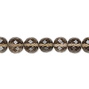 bead, smoky quartz (heated / irradiated), medium to dark, 8-9mm hand-cut faceted round, b grade, mohs hardness 7. sold per 8-inch strand.