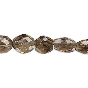 bead, smoky quartz (heated / irradiated), medium to dark, 8x7mm-16x12mm graduated hand-cut faceted puffed oval, c- grade, mohs hardness 7. sold per 14-inch strand.