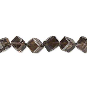 bead, smoky quartz (heated / irradiated), medium to dark, 8x8mm-10x10mm hand-cut diagonally drilled cube, b- grade, mohs hardness 7. sold per 14-inch strand.