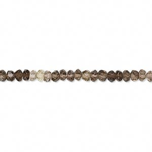 bead, smoky quartz (heated / irradiated), shaded, 3x2mm-4x3mm faceted rondelle, b grade, mohs hardness 7. sold per 14-inch strand.
