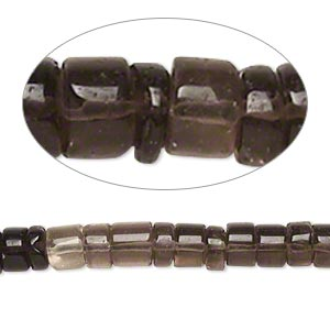 bead, smoky quartz (heated / irradiated), shaded, 6x2mm-7x5mm hand-cut heishi, b- grade, mohs hardness 7. sold per 14-inch strand.