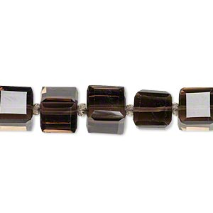 bead, smoky quartz (heated / irradiated),8x8mm faceted cube, b grade, mohs hardness 7. sold per pkg of 5.