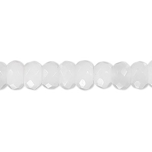 bead, snow quartz (natural), 8x5mm faceted rondelle, b grade, mohs hardness 7. sold per 16-inch strand.