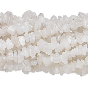 bead, snow quartz (natural), medium chip with 0.5-1.5mm hole, mohs hardness 7. sold per pkg of (10) 34-inch strands.