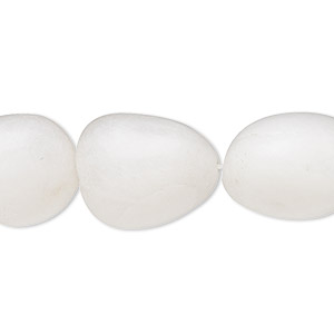 bead, snow quartz (natural), medium to large hand-cut tumbled nugget with 0.4-1.4mm hole, mohs hardness 7. sold per 16-inch strand.