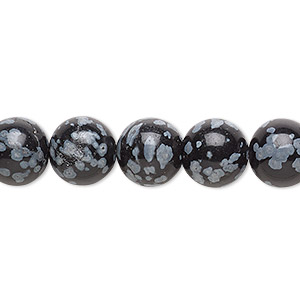 bead, snowflake obsidian (natural), 10mm hand-cut round, b grade, mohs hardness 5 to 5-1/2. sold per 16-inch strand.