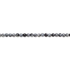 bead, snowflake obsidian (natural), 2mm round, b grade, mohs hardness 5 to 5-1/2. sold per 16-inch strand.