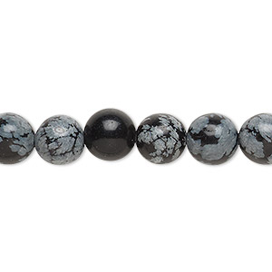 bead, snowflake obsidian (natural), 8mm round, c grade, mohs hardness 5 to 5-1/2. sold per pkg of (10) 16-inch strands.