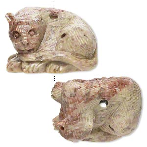 bead, soapstone (coated), 32x25mm-39x27mm hand-carved lying panther, c grade. sold per pkg of 2.