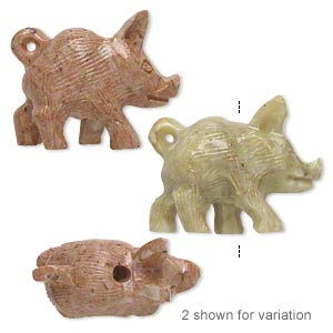 bead, soapstone (coated), 34x21mm-36x27mm hand-carved walking wild pig, c grade. sold per pkg of 2.