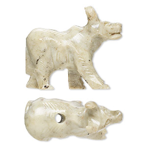 bead, soapstone (coated), 35x22mm-38x33mm hand-carved standing water buffalo, c grade. sold per pkg of 2.