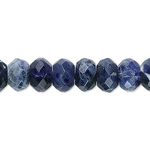 bead, sodalite (natural), 10x7mm faceted rondelle, b grade, mohs hardness 5 to 6. sold per 16-inch strand.
