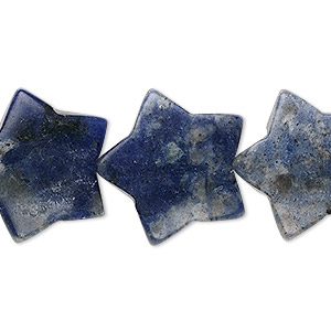 bead, sodalite (natural), 20x20mm puffed star, b- grade, mohs hardness 5 to 6. sold per 15-inch strand.