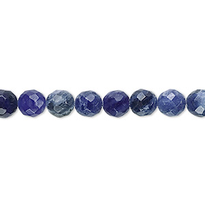 bead, sodalite (natural), 6mm faceted round, b grade, mohs hardness 5 to 6. sold per 16-inch strand.
