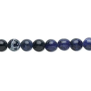 bead, sodalite (natural), 6mm round, b grade, mohs hardness 5 to 6. sold per 16-inch strand.
