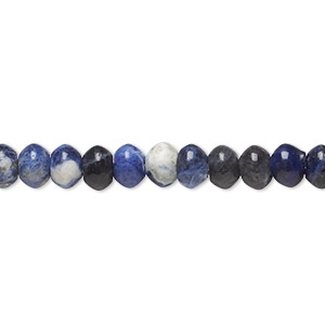 bead, sodalite (natural), 6x4mm rondelle, b grade, mohs hardness 5 to 6. sold per 16-inch strand.
