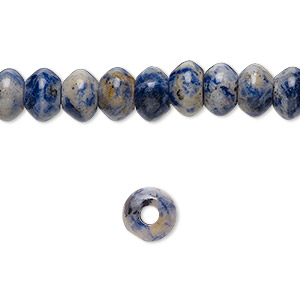 bead, sodalite (natural), 8x5mm saucer with 2-2.5mm hole, b grade, mohs hardness 5 to 6. sold per pkg of 10.