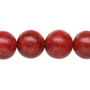 bead, sponge coral (dyed / coated), red, 14mm round, c- grade, mohs hardness 3-1/2 to 4. sold per 15-inch strand.