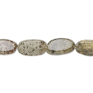 bead, spotted quartz (natural), 10x6mm-18x9mm hand-cut flat oval, c- grade, mohs hardness 7. sold per 13-inch strand.