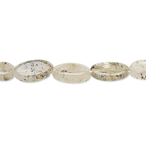 bead, spotted quartz (natural), 8x5mm-14x7mm hand-cut flat oval, c grade, mohs hardness 7. sold per 13-inch strand.
