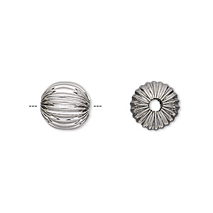 bead, stainless steel, 10mm corrugated round, 2mm hole. sold per pkg of 10.