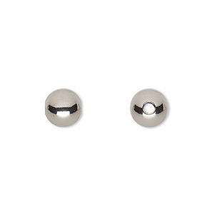 bead, stainless steel, 8mm round with 2mm hole. sold per pkg of 10.