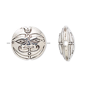 bead, sterling silver, 17mm puffed round with face. sold individually.