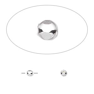 bead, sterling silver, 3mm hexagon. sold per pkg of 100.