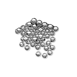 bead, sterling silver, 3mm seamless-look round. sold per pkg of 50.