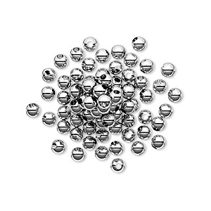 bead, sterling silver, 3mm seamless round. sold per pkg of 1,000.