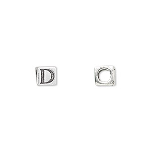 bead, sterling silver, 5.5x5.5mm cube with alphabet letter d and 3.5mm hole. sold individually.