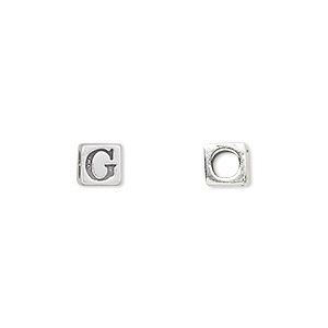 bead, sterling silver, 5.5x5.5mm cube with alphabet letter g and 3.5mm hole. sold individually.