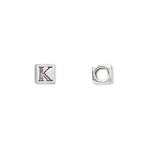 bead, sterling silver, 5.5x5.5mm cube with alphabet letter k and 3.5mm hole. sold individually.