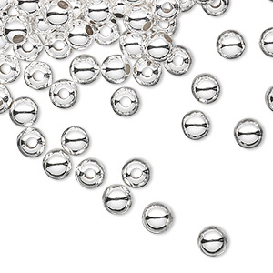 bead, sterling silver, 5mm seamless round. sold per pkg of 1,000.