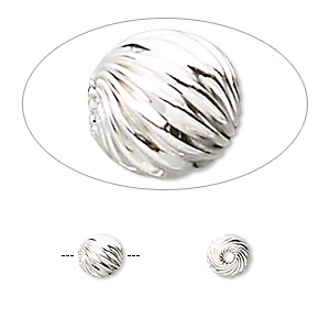 bead, sterling silver, 6mm twisted corrugated round. sold per pkg of 2.