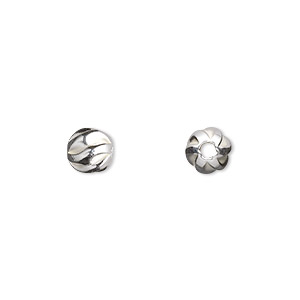 bead, sterling silver, 7mm corrugated twist round. sold per pkg of 10.