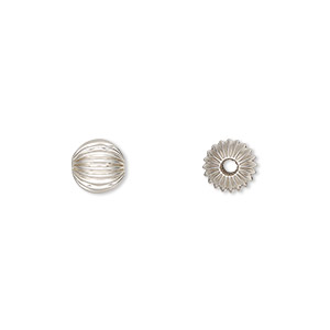 bead, sterling silver, 7mm seamless corrugated round. sold per pkg of 10.