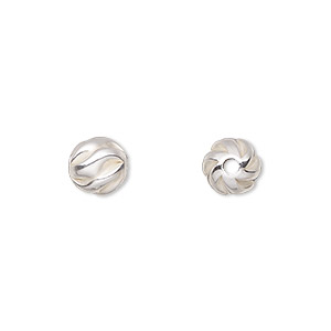 bead, sterling silver, 8mm partially matte twisted corrugated round. sold per pkg of 20.