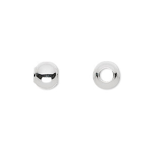bead, sterling silver, 8mm round with 4mm hole. sold per pkg of 10.