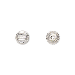 bead, sterling silver, 8mm seamless corrugated round. sold per pkg of 2.