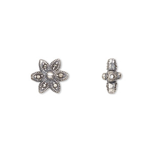 bead, sterling silver and marcasite, 11x11mm double-sided flower. sold individually.