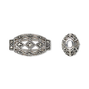bead, sterling silver and marcasite, 20x11mm open design flat oval with 3x2mm oval hole. sold individually.