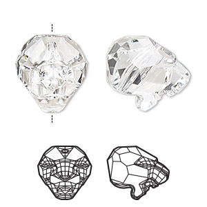 bead, swarovski crystal, crystal clear, 18x14mm faceted cougar (5751). sold per pkg of 12.