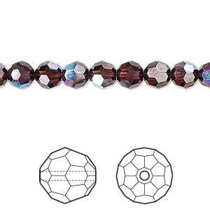 bead, swarovski crystal, crystal passions, burgundy ab, 6mm faceted round (5000). sold per pkg of 12.