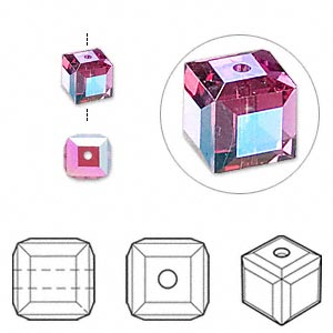 bead, swarovski crystal, crystal passions, fuchsia ab, 6x6mm faceted cube (5601). sold per pkg of 6.