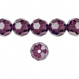 bead, swarovski crystals, amethyst, 10mm faceted round (5000). sold per pkg of 24.